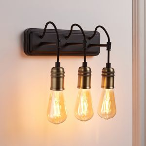 Hixley Black & Brass Wired Wall Light