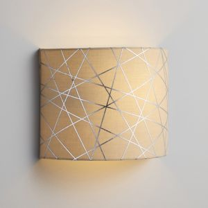 Inlight Carme Foil Printed Mocha & Silver Wired Wall Light
