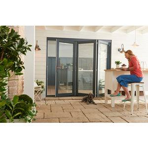 Jeld-Wen Bedgebury Clear Glazed Grey Hardwood Reversible External Folding Patio Door set (H)2094mm (W)2394mm