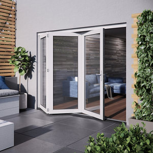 Jeld-Wen Bedgebury Clear Glazed White Hardwood Reversible External Folding Patio Door set (H)2094mm (W)1794mm