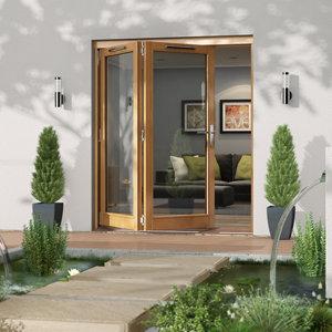 Jeld-Wen Canberra Clear Glazed Golden Oak LH External Folding Patio Door set (H)2094mm (W)1794mm
