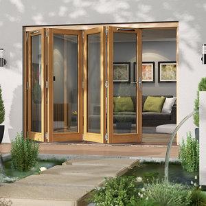 Jeld-Wen Canberra Clear Glazed Golden Oak LH External Folding Patio Door set (H)2094mm (W)2994mm