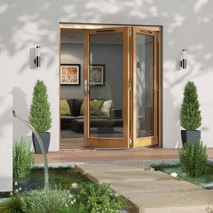 Jeld-Wen Canberra Clear Glazed Golden Oak RH External Folding Patio Door set (H)2094mm (W)1794mm