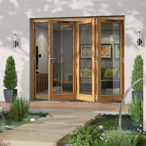 Jeld-Wen Canberra Clear Glazed Golden Oak RH External Folding Patio Door set (H)2094mm (W)2394mm