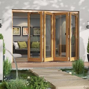 Jeld-Wen Canberra Clear Glazed Golden Oak RH External Folding Patio Door set (H)2094mm (W)2994mm