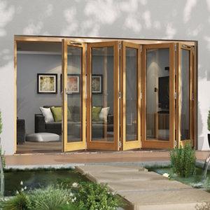 Jeld-Wen Canberra Clear Glazed Golden Oak RH External Folding Patio Door set (H)2094mm (W)3594mm