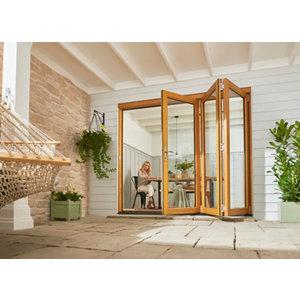 Jeld-Wen Kinsley Clear Glazed Golden Oak Reversible External Folding Patio Door set (H)2094mm (W)1794mm