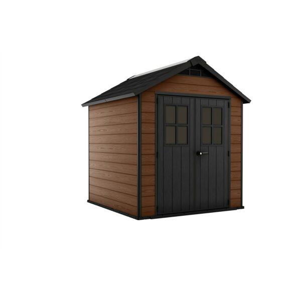 Keter Newton 7.5 x 7ft Outdoor Plastic Garden Storage Shed - Brown
