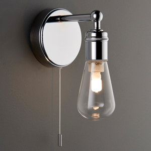 Miko Polished Chrome effect Bathroom Wall light