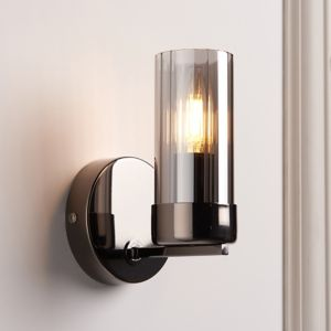 Nicholas Brushed Black Chrome Wired Wall Light