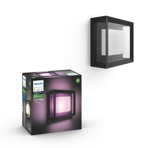 Philips Hue Non-Adjustable Black & White Mains-Powered Led Outdoor Wall Light 1150Lm (Dia)26Cm