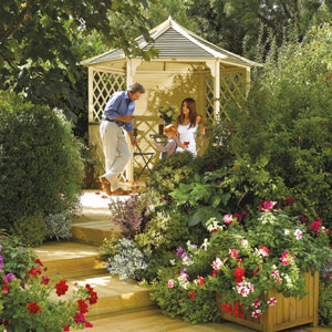 Rowlinson Gainsborough Natural Hexagonal Gazebo (W)3m (D)2.6m - Assembly service included