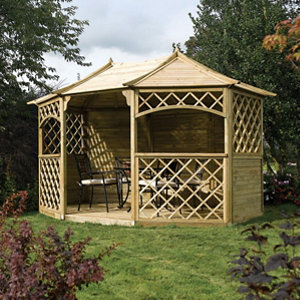 Rowlinson Sandringham Natural Octagonal Gazebo (W)3.94m (D)3m - Assembly service included