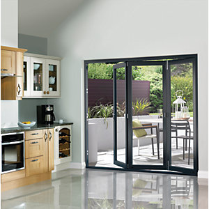 Wickes Burman Slimline Finished Bi-fold Door Grey 6ft Wide