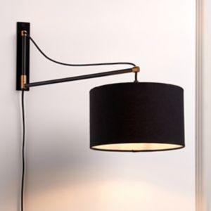 Yuno Matt Black Plug-In Wall Light