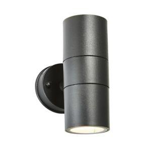 Zinc Odin Non-Adjustable Matt Black Mains-Powered Led Outdoor Up Down Wall Light (Dia)6Cm