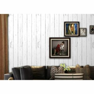 1075-3 3D Wood Self Adhesive Wallpaper Peel and Stick Shiplap White Wood Plank Wallpaper 1.48ft x 19.68ft