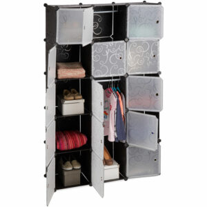 11-Compartment Shelving Unit Wardrobe, Modular Plug-In Plastic Shelf, 2 x Clothes Rails, Black - Relaxdays