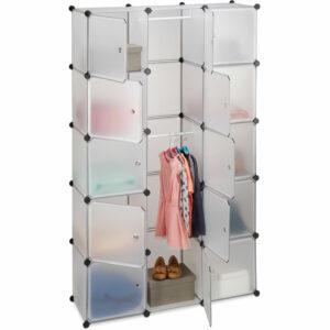 11-Compartment Shelving Unit Wardrobe, Modular Plug-In Plastic Shelf, 2 x Clothes Rails, Transparent - Relaxdays