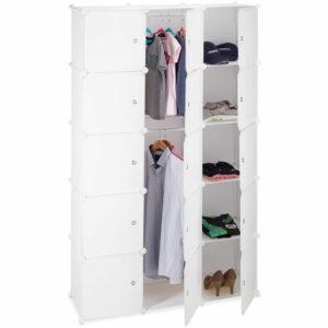 11-Compartment Shelving Unit Wardrobe, Modular Plug-In Plastic Shelf, 2 x Clothes Rails, White - Relaxdays