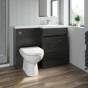 1100 mm Bathroom Vanity Unit Basin Toilet Combined Furniture Right Hand Charcoal