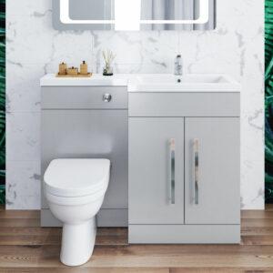 1100mm Bathroom Vanity Sink Unit Furniture Storage,Left Hand Matte Grey Vanity unit + Basin + Ceramic D shaped Toilet with Concealed Cistern - Elegant