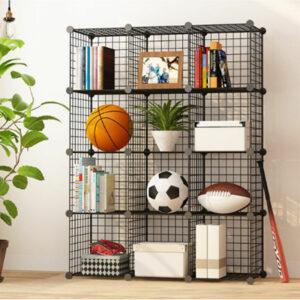 12 Cube Storage Shelf Rack DIY Wire Grid Bookcase Display Cabinet Toy Shoe