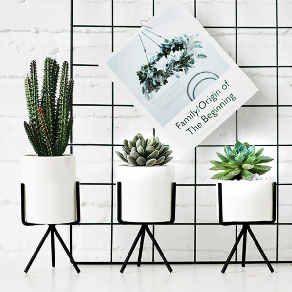 12.5CM Garden Geometric Plant Stand Ceramic Pot Succulent Flower Iron Cross Low Rack Holder, Black Low Pot