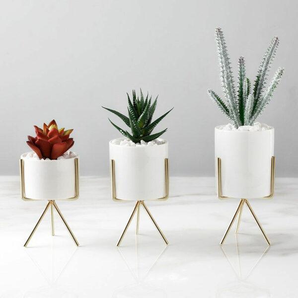 12.5CM Garden Geometric Plant Stand Ceramic Pot Succulent Flower Iron Cross Low Rack Holder, Gold Low Pot