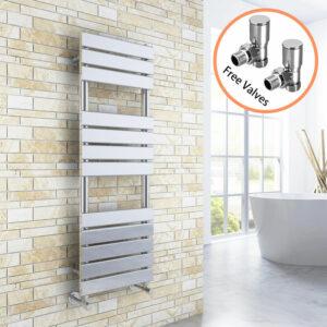 1200 x 400 Chrome Designer Flat Panel Heated Towel Rail Radiator + Angled Radiator Valves - Elegant