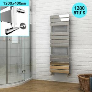 1200 x 400 Chrome Designer Flat Panel Heated Towel Rail Radiator - Elegant