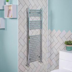 1200x450 Straight Central Heating Towel Rail Bathroom Heated Rad Radiator Chrome