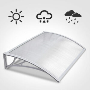 120cm Door Canopy Transparent Awning Shelter Front Back Porch Outdoor Shade Patio Roof - White