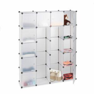 14-Compartment Shelving Unit Wardrobe, Modular Plug-In Plastic Shelf, 2 x Clothes Rails, Transparent - Relaxdays