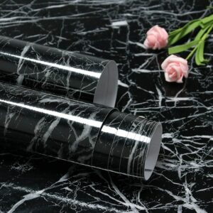 15.7'x197' Black Marble Wallpaper Peel and Stick for Kitchen Countertops Waterproof Black Marble Contact Paper Removable and Self Adhesive Marble