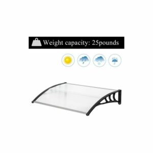 150*100cm Door Canopy Transparent Awning Shelter Front Back Porch Outdoor Shade Patio Roof-Black