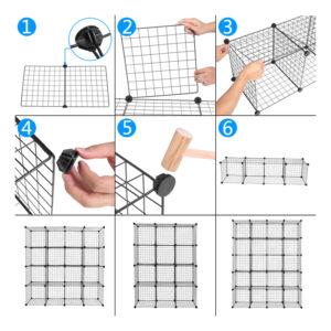 16-Cube Wire Storage Unit, DIY Bookshelf Multi-function Metal Storage Organizer Wire Shelves, Black