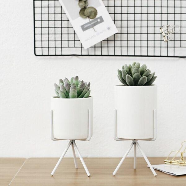 16.5CM Garden Geometric Plant Stand Ceramic Pot Succulent Flower Iron Cross Low Rack Holder, White High Pot