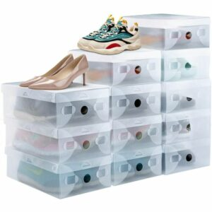 16Pcs Stackable Shoe Box Storage Clear Solid Breathable Plastic Shoe Box with Front Door 28 * 18 * 9.5cm for High Heels Sneakers Sneakers Size 41