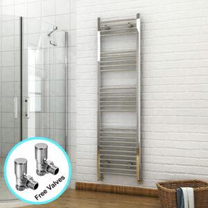 1800 x 500mm Chrome Heated Towel Rail Designer Bathroom Radiator + Angled Radiator Valves - Elegant