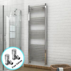 1800 x 600 mm Bathroom Towel Radiator Chrome Straight Towel Rail Radiator + Angled Radiator Valves