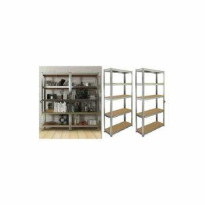 2 X 5 Tier Shelving Unit Storage Heavy Duty Racking Shelf Shelves Shed Metal Set