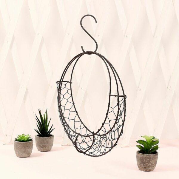 28x28x6cm Iron Wire Moon Shape Succulent Pot Metal Pot Hanging Planter Plant Holder Basket
