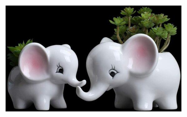 2pcs elephant plant cabinet cute elephant flower pot / modern white ceramic succulent flower pot / tiny flower container animal decoration - Langray