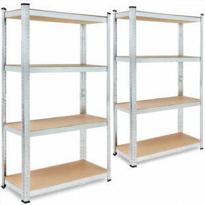 2x Shelves Shelving Units Storage Unit Garage Racking 5 Tier Metal Rack - Deuba