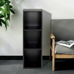 3 Tier Cube Bookcase Display Shelving Storage Unit Wooden Stand Shelves Black