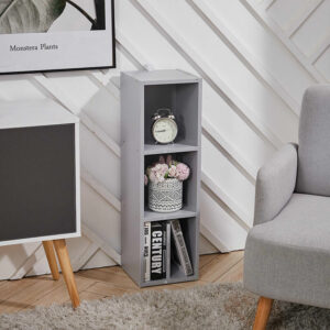 3 Tier Cube Bookcase Display Shelving Storage Unit Wooden Stand Shelves Grey