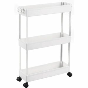 3 Tier Slim Storage Cart Mobile Shelving Unit Organizer Slide Out Storage Rolling Utility Cart Tower Rack for Kitchen Bathroom Laundry Narrow Places,