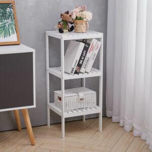 3 Tiers Corner Shelf Unit Storage Bookshelf Shelving, White