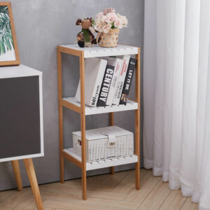 3 Tiers Corner Shelf Unit Storage Bookshelf Shelving, White and Brown
